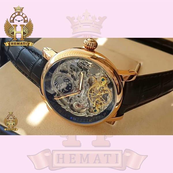 خرید اینترنتی ساعت مردانه پتک فیلیپ اتوماتیک مدل سیبیل بند چرم مشکی Patek Philippe VX145216 صفحه اسکلتون