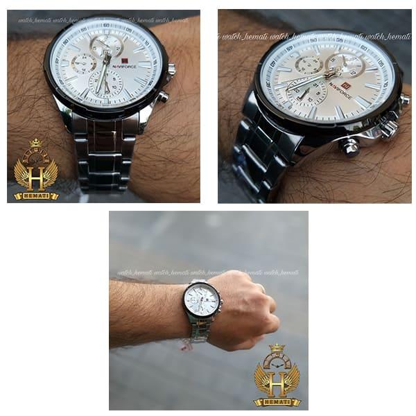 خرید ساعت مچی مردانه نیوی فورس مدل naviforce nf99089m قاب و بند نقره ای و دور قاب مشکی