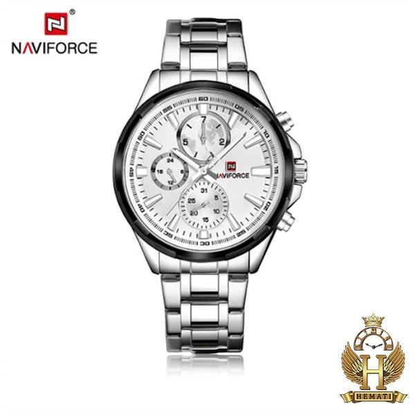 خرید انلاین ساعت مچی مردانه نیوی فورس مدل naviforce nf99089m قاب و بند نقره ای و دور قاب مشکی