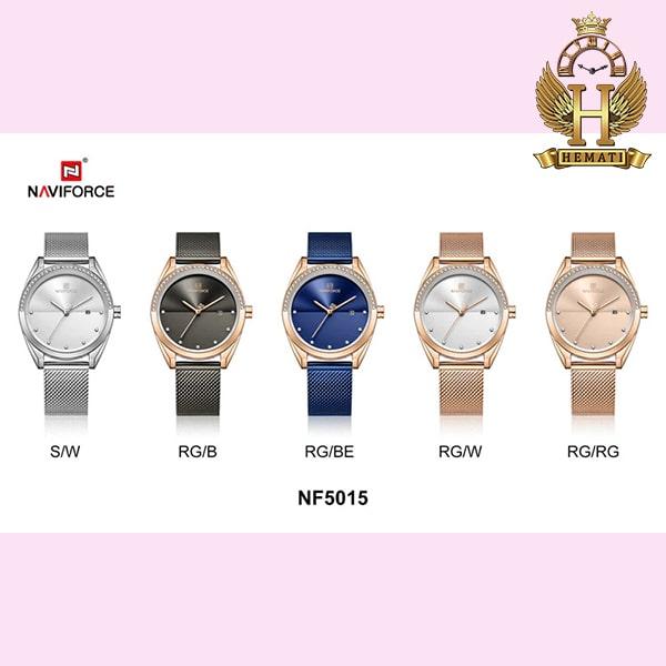 خرید ساعت زنانه نوی فورس مدل NF5015L در رنگبندی رزگلد ، نقره ای ، مشکی ، سرمه ای