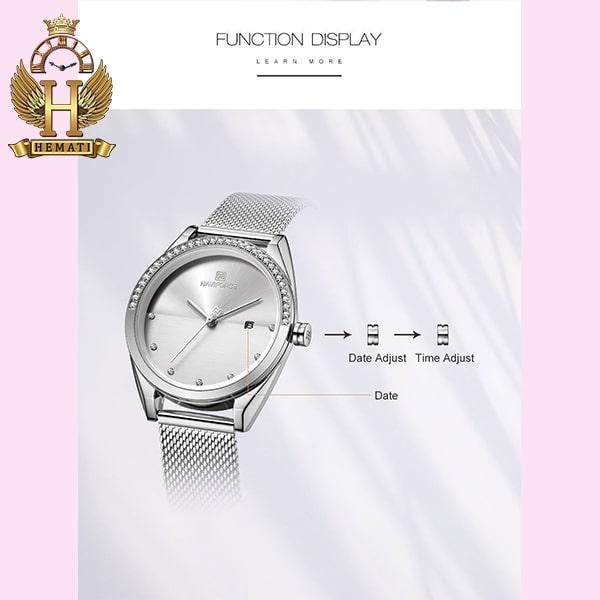 روش تنظیم تقویم ساعت زنانه نوی فورس مدل NF5015L در رنگبندی رزگلد ، نقره ای ، مشکی ، سرمه ای