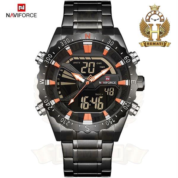 خرید انلاین ساعت مردانه نیوی فورس مدل naviforce nf9136m مشکی ایندکس نارنجی