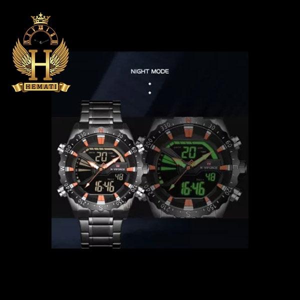 نمایندگی ساعت مردانه نیوی فورس مدل naviforce nf9136m مشکی ایندکس نارنجی