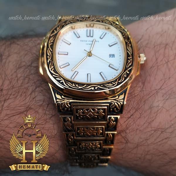 خرید ، قیمت ، مشخصات ساعت مردانه پتک فیلیپ ناتیلوس Patek Philippe Nautilus PPN846 قاب و بند حکاکی به رنگ طلایی