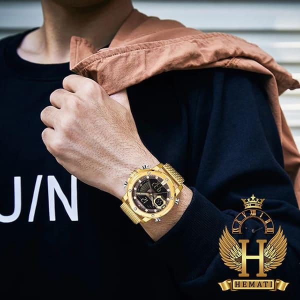 قیمت ساعت مردانه نیوی فورس دو زمانه مدل naviforce nf9172m تمام طلایی با بند حصیری