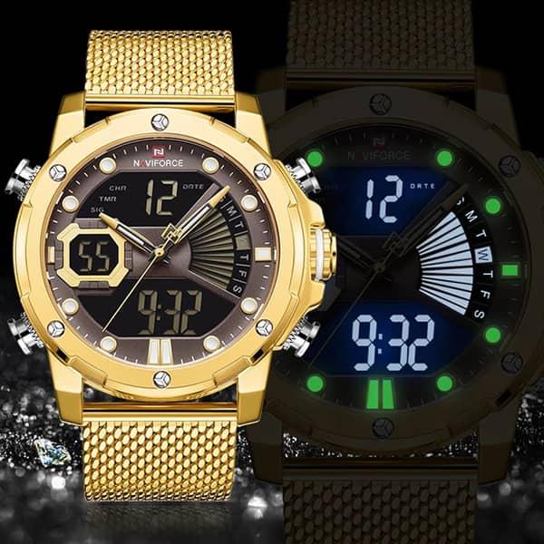 مشخصات خرید اینترنتی ساعت مردانه نیوی فورس دو زمانه مدل naviforce nf9172m تمام طلایی با بند حصیری