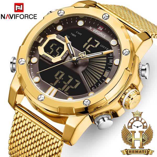 خرید اینترنتی ساعت مردانه نیوی فورس دو زمانه مدل naviforce nf9172m تمام طلایی با بند حصیری