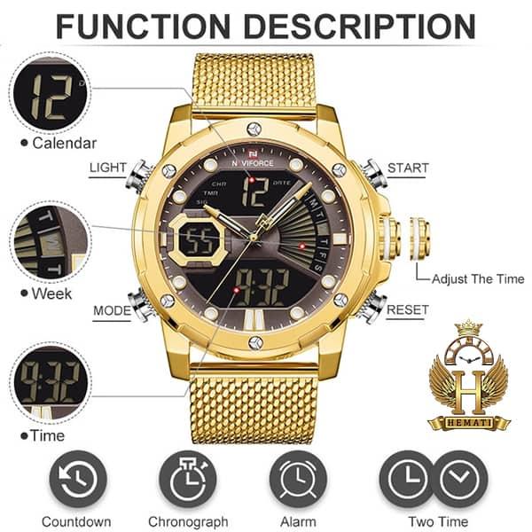 خرید ارزان ساعت مردانه نیوی فورس دو زمانه مدل naviforce nf9172m تمام طلایی با بند حصیری