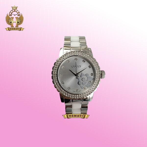خرید ساعت زنانه گوچی GUCCI 14159L نفره ای صفحه گل دار