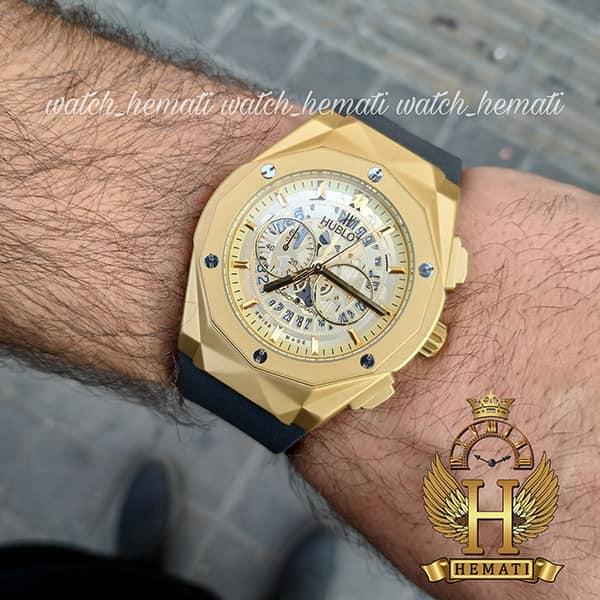 مشخصات ساعت مردانه هابلوت بیگ بنگ مدل HUTM300 طلایی دورقاب تراش
