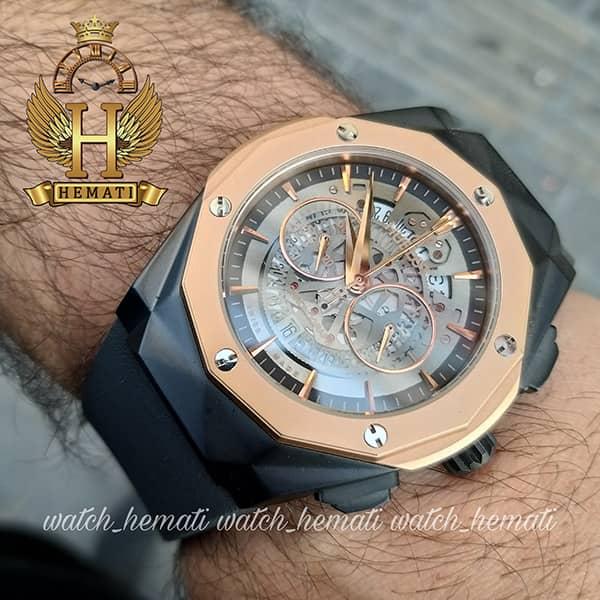 خرید ارزان ساعت مردانه هابلوت Big Bang BB3288 قاب تراش سه موتوره ، رنگ مشکی رزگلد