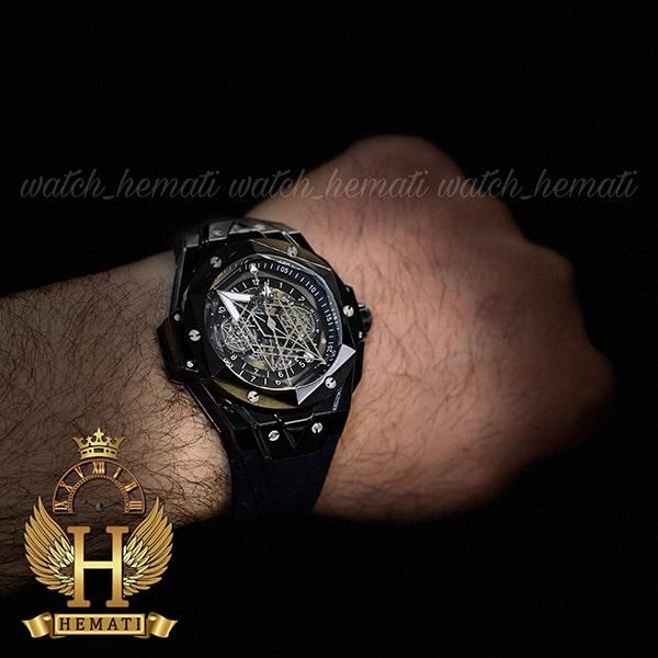 مشخصات ساعت مچی هابلوت مردانه بیگ بنگ مدل BB9990 قاب هندسی عقربه عنکبوتی رنگ مشکی
