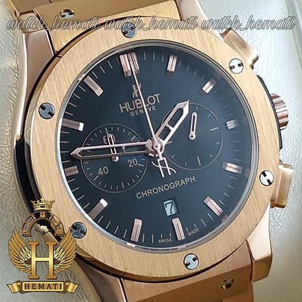 خرید ، قیمت ، مشخصات ساعت مردانه هابلوت بند فلزی رزگلد سه موتوره HU3M100