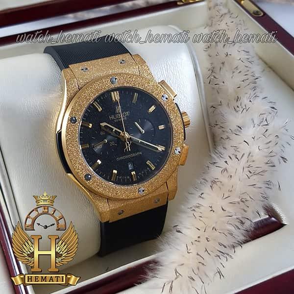 ساعت اسپرت هابلوت مدل BB3490 بیگ بنگ قاب شنی طلایی صفحه مشکی
