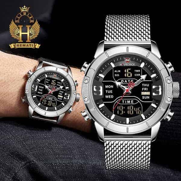 قیمت ساعت مردانه نیوی فورس دو زمانه مدل naviforce nf9146m تمام نقره ای با بند حصیری