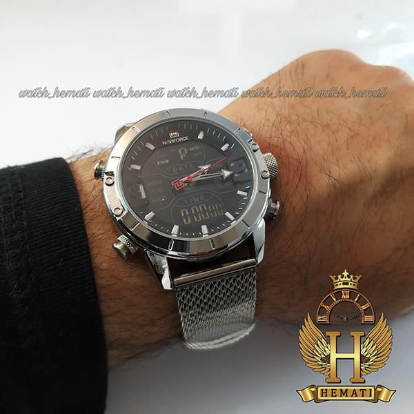 نمایندگی فروش ساعت مردانه نیوی فورس دو زمانه مدل naviforce nf9146m تمام نقره ای با بند حصیری