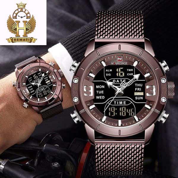 خرید ، قیمت ، مشخصات ساعت مردانه نیوی فورس دو زمانه مدل naviforce nf9146m تمام کافی با بند حصیری