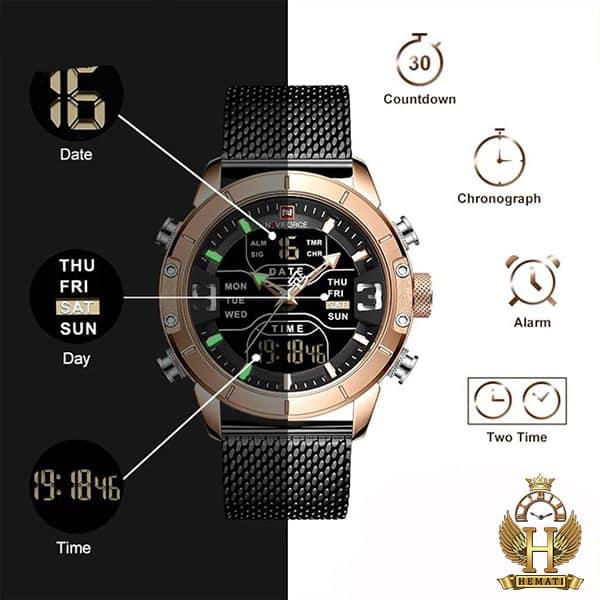 خرید ، قیمت ، مشخصات ساعت مردانه نیوی فورس دو زمانه مدل naviforce nf9146m قاب رزگلد با بند حصیری مشکی