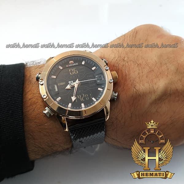 نمایندگی خرید ساعت مردانه نیوی فورس دو زمانه مدل naviforce nf9146m قاب رزگلد با بند حصیری مشکی