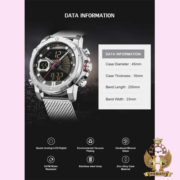 نمایندگی فروش ساعت مردانه نیوی فورس دو زمانه مدل naviforce nf9172m تمام نقره ای با بند حصیری