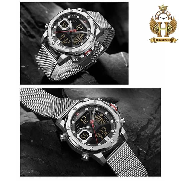 خرید انلاین ساعت مردانه نیوی فورس دو زمانه مدل naviforce nf9172m تمام نقره ای با بند حصیری