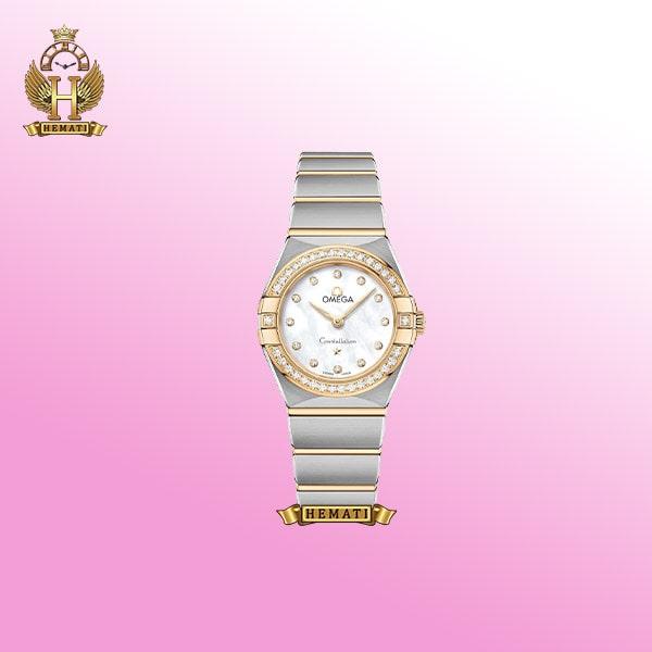 ساعت مچی زنانه امگا کانسلیشن بند استیل نقره ای دورقاب طلایی - صفحه ساعت سفید