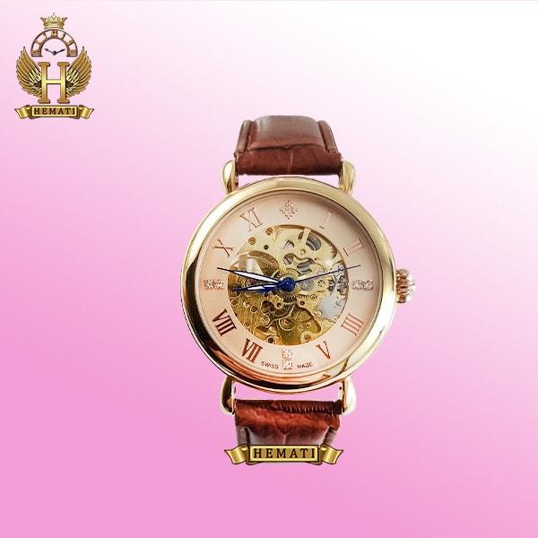 ساعت مردانه پتک فیلیپ موتور اتوماتیک PV900 بند چرمی صفحه اسکلتون