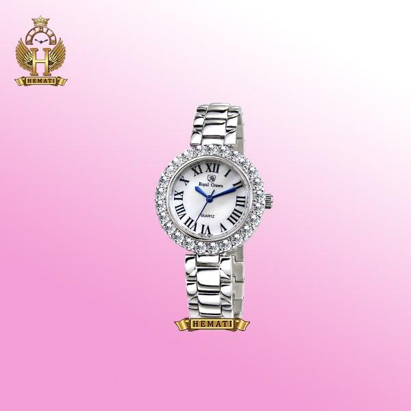 ساعت رویال کرون زنانه مدل 6305 نقره ای ایندکس یونانی نگین دار