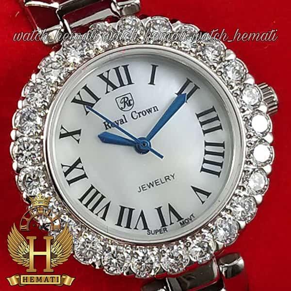 خرید اینترنتی ساعت رویال کرون زنانه مدل 6305 نقره ای ایندکس یونانی نگین دار