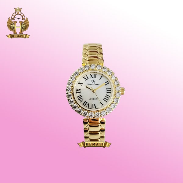 ساعت زنانه رویال کرون 6305 طلایی ایندکس یونانی
