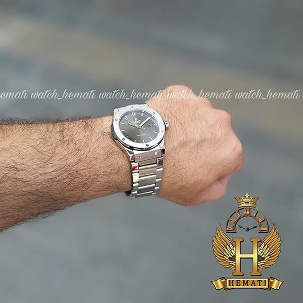 خرید ساعت هابلوت مردانه HUAM100 موتور اتوماتیک تمام استیل به رنگ طوسی جذاب