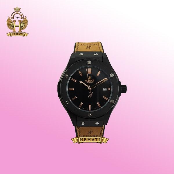 ساعت هابلوت زنانه مدل بیگ بنگ BB6715 تک موتوره قاب مشکی بند رابر قهوه ای