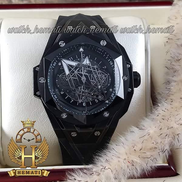 ساعت مچی هابلوت مردانه بیگ بنگ مدل BB9990 قاب هندسی عقربه عنکبوتی رنگ مشکی