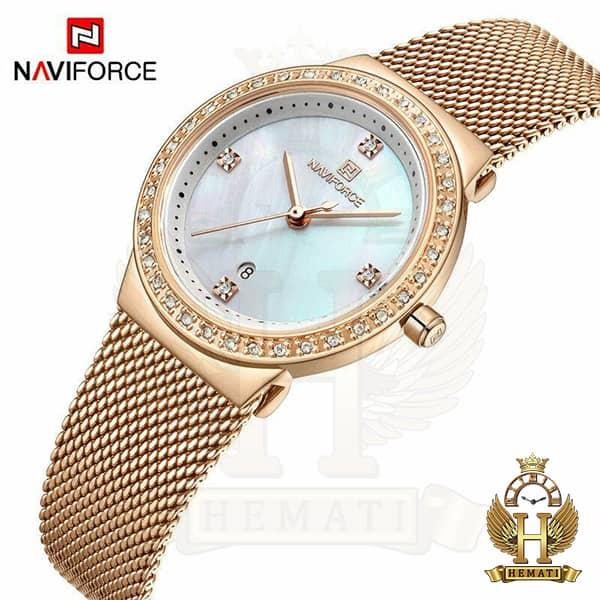 قیمت ساعت زنانه نیوی فورس مدل nf5005l قاب و بند رزگلد