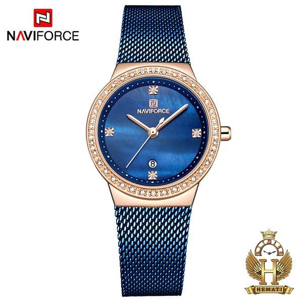 خرید ساعت زنانه نیوی فورس مدل nf5005l قاب رزگلد با بند سرمه ای