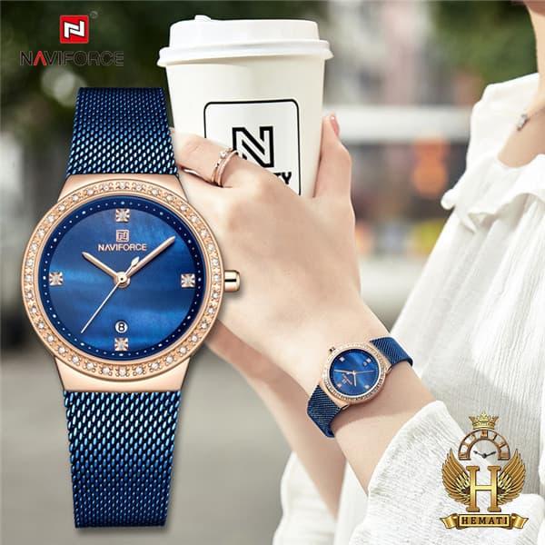 قیمت ساعت زنانه نیوی فورس مدل nf5005l قاب رزگلد با بند سرمه ای