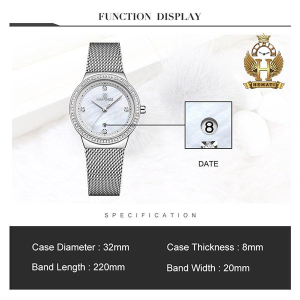 قیمت ساعت زنانه نیوی فورس مدل nf5005l قاب و بند نقره ای
