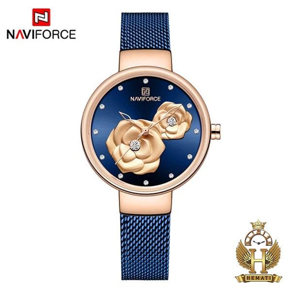 خرید ساعت زنانه نیوی فورس مدل nf5013l قاب رزگلد صفحه و بند سرمه ای