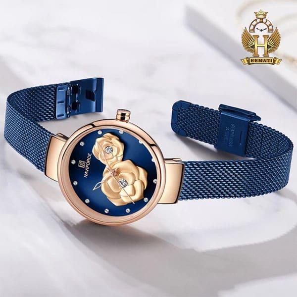 خرید انلاین ساعت زنانه نیوی فورس مدل nf5013l قاب رزگلد صفحه و بند سرمه ای