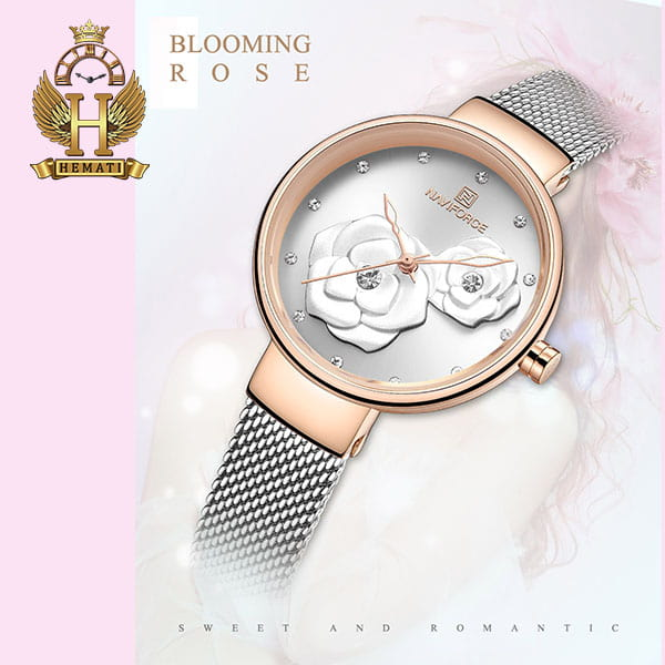 خرید انلاین ساعت زنانه نیوی فورس مدل nf5013l قاب رزگلد صفحه و بند نقره ای