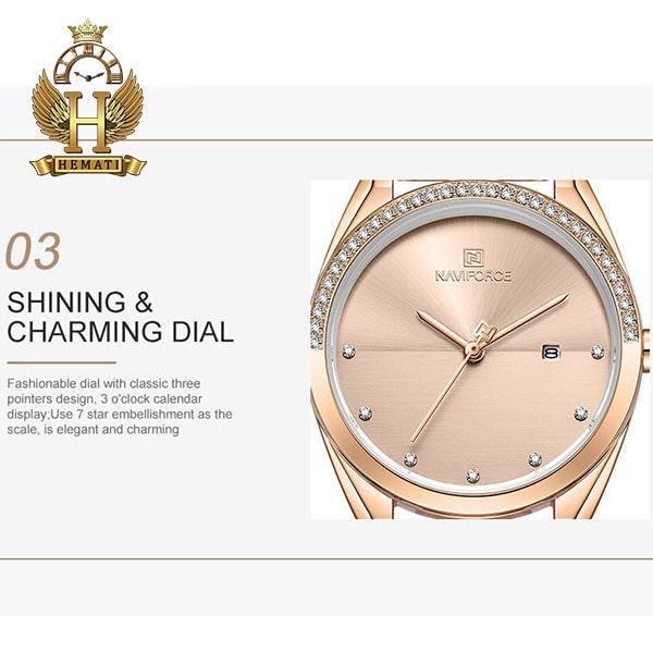 قیمت ساعت زنانه نیوی فورس مدل naviforce nf5015l رزگلد