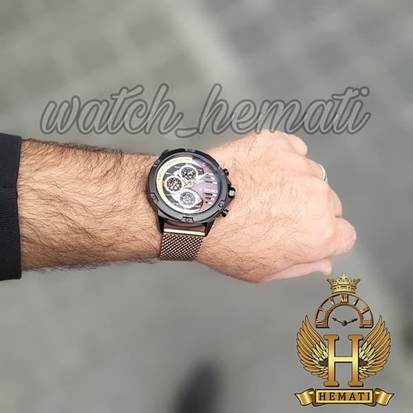 مشخصات ساعت مردانه نیوی فورس مدل naviforce nf9110m قاب مشکی با بند حصیری رزگلد