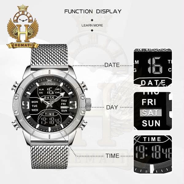 خرید انلاین ساعت مردانه نیوی فورس دو زمانه مدل naviforce nf9146m تمام نقره ای با بند حصیری