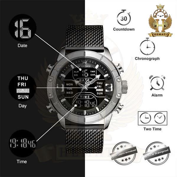 خرید اینترنتی ساعت مردانه نیوی فورس دو زمانه مدل naviforce nf9146m