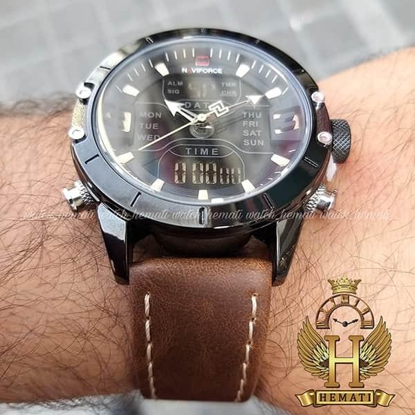 قیمت ساعت مچی مردانه نیوی فورس دو زمانه مدل naviforce nf9146m قاب مشکی با بند چرم قهوه ای