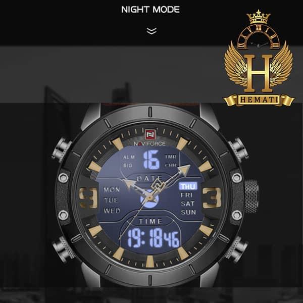 مشخصات ساعت مردانه نیوی فورس دو زمانه مدل naviforce nf9146m قاب مشکی با بند چرم قهوه ای