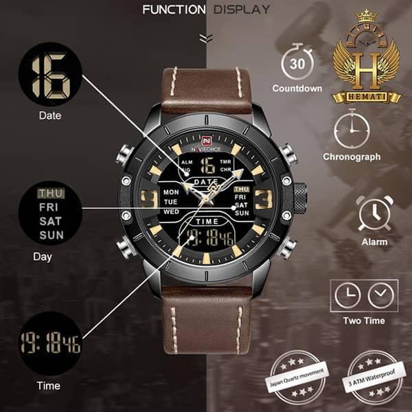 خرید اینترنتی ساعت مردانه نیوی فورس دو زمانه مدل naviforce nf9146m قاب مشکی با بند چرم قهوه ای