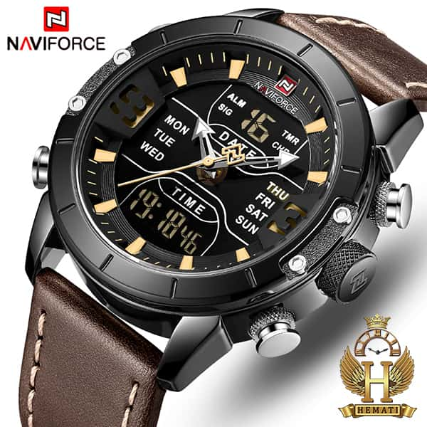 خرید ساعت مچی مردانه نیوی فورس دو زمانه مدل naviforce nf9146m قاب مشکی با بند چرم قهوه ای