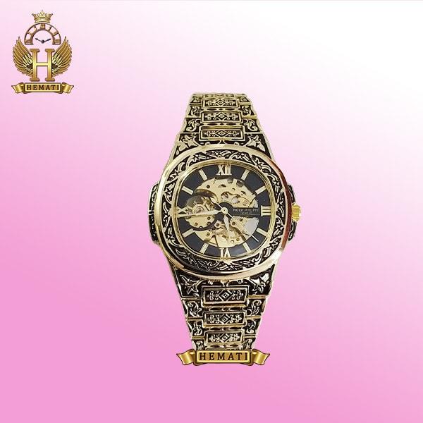 ساعت مردانه patek philippe nautilus مدل PPN2578 قاب حکاکی شده طلایی