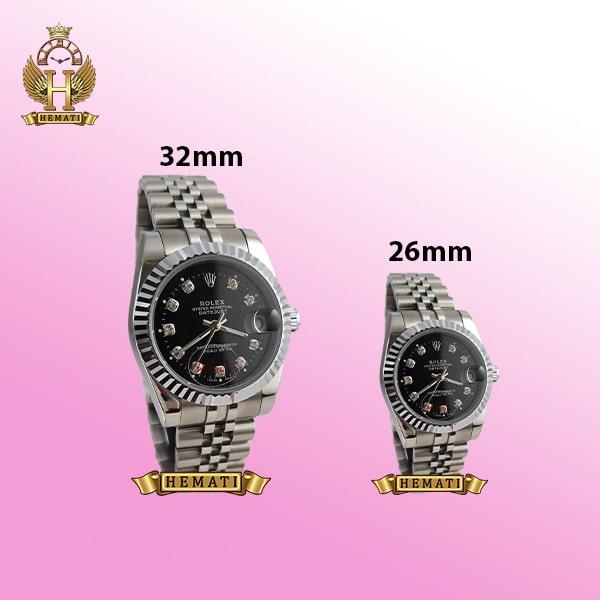ساعت زنانه رولکس دیت جاست Rolex Datejust RODJL107 نقره ای صفحه مشکی